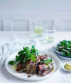 It doesn't get much more French than savoury ham and cheese crêpes. We've added apple and watercress to help cut the richness of the cheese and ham. Watercress Recipes, Watercress Salad, Buckwheat Crepes, Ham And Cheese Crepes, Recipe Search, Unique Recipes, Light Recipes, Main Meals, Quick Meals