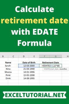 Calculate retirement date with EDATE Formula - Excel formulas and functions - Basic Excel Formulas Learn Computer Science, Computer Help, Excel Cheat Sheet, Microsoft Excel Formulas, Excel For Beginners, How To Study Physics, Excel Hacks, Learning Techniques, Learn Programming