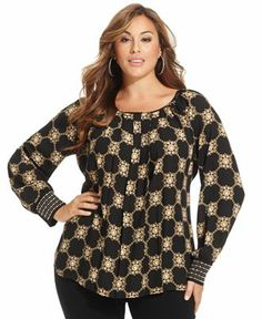 Alfani Plus Size Top, Long-Sleeve Printed Embellished - Plus Size Tops - Plus Sizes - Macy's