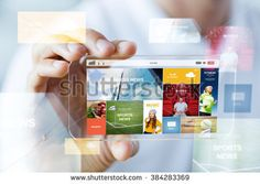 business, technology and people concept - close up of male hand holding and showing transparent smartphone news web page on screen