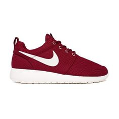 Nike Roshe Run (Team Red/Sail) Consortium ($110) ❤ liked on Polyvore featuring shoes, sneakers, nike, trainers, red pokemon trainer, nike footwear, red wing shoes and nike sneakers