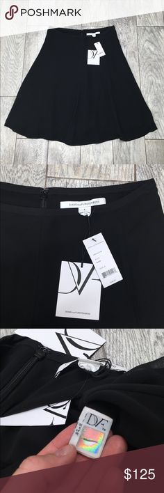 Diane Von Furstenberg black silk chiffon skirt NWT Diane Von Furstenberg black silk chiffon skirt. NWT- never worn, no damage. Originally $328. 100% silk chiffon style shell. A-line. Beautiful classic skirt. Size 8 Diane Von Furstenberg Skirts A-Line or Full