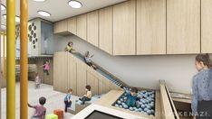 Nia Montessori — Sulkin Askenazi Coffee Shop Interior Design, Salon Interior Design, Kids Indoor Playground, Playground Design, Playroom Design, Kids Room Design, Kids Cafe, Kindergarten Design, Healthcare Design