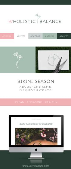 Brand identity, logo design and web design for a holistic health practitioner / natural health and wellness coach. Engaging, Clean, and Healthy inspiration. Squarespace design. Delicate logo with a green, grey, and blush pink color scheme. #branddesign #femininebrand #brandinspiration #squarespace