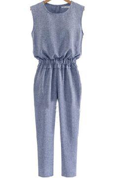 I love the jumpsuit.  Blue Sleeveless Elastic Waist Slim Jumpsuit 21.45