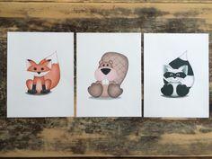 Woodland animal nursery wall art for boys, Forest animal nursery art print set, fox raccoon nursery, baby boy woodland nursery wall decor - pinned by pin4etsy.com