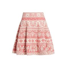 Alexander McQueen Floral-jacquard knit skirt (1 280 AUD) ❤ liked on Polyvore featuring skirts, high-waisted skirts, knit skirt, high waisted skater skirt, high waisted skirts and high waisted circle skirt