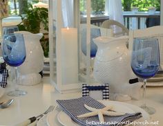Blue and White Nautical or Beach Themed Table Setting Tablescape