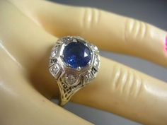 1930s Sapphire and Diamond Filigree Ring Art by estatejewelryshop, $895.00