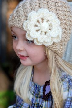 Crochet hat for girl babies and toddlers w/ by BlossomBella, $15.00