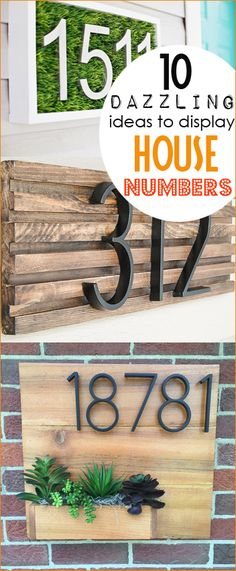 10 Dazzling ideas to display house numbers.  House numbers with curb appeal.  Creative ways to showcase your address for guests.  Cool number displays, home decor and front porch essentials.