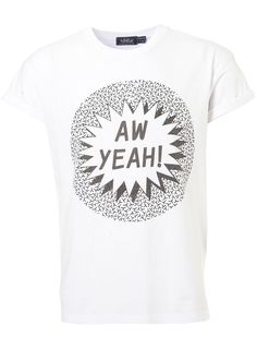 White Ah Yeah! Roll Up Tee - T-shirts & Vests - New In Clothing - New In - TOPMAN