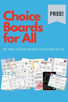 I'm so excited to share the awesome creativity from our Choice Board Creators Club! They pulled together some amazing choice boards for their own students and have shared them with you! There are almost 40 boards for varying grade levels and subjects! Teacher Freebies, Classroom Freebies, Special Education Classroom, Guided Reading Lesson Plans, Lesson Plan Examples, Teaching Activities, Teaching Ideas, School Choice, Behavior Plans