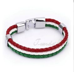 Friendship Bracelet Online Sale - Braided Leather (Red White Green) Buy online at http://www.e1bracelets.com/pd--p-583782-a-0-ex-0-pn-Friendship-Bracelet-Online-Sale---Braided-Leather-(Red-White-Green).html