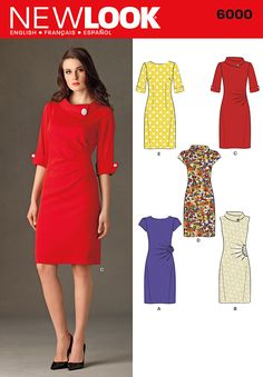 New Look Sewing Pattern 6000 Misses' Dresses, Size A Misses' retro style dress with front, sleeve and neck variations. New Look pattern part of New Look Autumn/Winter 2010 Collection. Pattern for 5 looks. Motif Vintage, Vintage Dress Patterns, Vintage Style Dresses, Clothing Patterns, Dress Vintage, Dress Patterns Women, New Look Dresses, Women's Dresses, Work Dresses