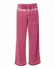 J. America - Ladies' Zen Fleece Sweatpant - 8914 - L - Wildberry 7.0 oz., 60/40 cotton/polyester. Acid wash burnout fleece with silicone finish. Elastic waistband with dyed-to-match drawcord. Flatlock stitching throughout. Raw-edge seams on bottom of cuffs.  #J.America #Apparel