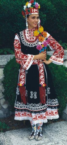 Europe   Portrait of a young woman wearing traditional clothes and headdress, Bulgaria #embroidery