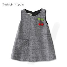 NEW For Fall Little Girls Jumper With Adorable Cherry Applique Baby Girl Dresses Adorable Applique Cherry Fall Girls jumper Kids Dress Wear, Dresses Kids Girl, Kids Outfits, Dresses For Toddlers, Baby Dresses, Dress Girl, Winter Outfits, Baby Frocks Designs, Kids Frocks Design