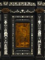 An exhibition quality Italian marquetry inlaid ebonized cabinet on stand Sorrento circa 1891