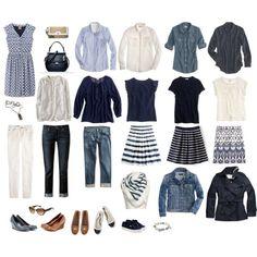 Complete wardrobe in blue and cream