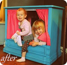 Turn an old Console TV into a puppet theater!  The woman who made this one says it can also be a reading nook, a house, a bus, an airplane, a doghouse, a hideout & a store!  The possibilities are endless for kids with wild imaginations!