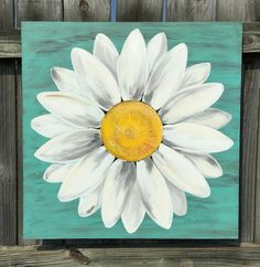 Original Daisy Painting on a Wood Panel Turquoise Blue Distressed Flow.,Original Daisy Painting on a Wood Panel Turquoise Blue Distressed Flower Art Original White Daisy Painting. This painting is approximat. Cute Canvas Paintings, Easy Canvas Painting, Mini Canvas Art, Simple Acrylic Paintings, Diy Canvas, Canvas Ideas, Crafts With Canvas, Painting Art, Simple Canvas Art