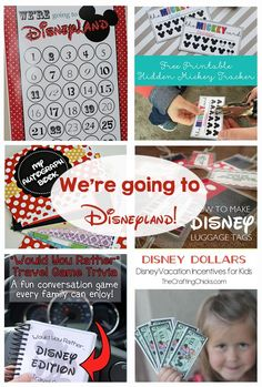 Disney vacation ideas and printables! Countdown, luggage tags, games, incentives for kids, t-shirt designs, autograph books, and so much more!