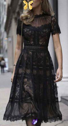 20 Super Cheap Lace Dress To Buy #dress ideas<br> Denim Fashion, Girl Fashion, Fashion Ideas, Unique Fashion, Fashion Tips, Dress Outfits, Fashion Dresses, Pretty Black, Evening Gowns