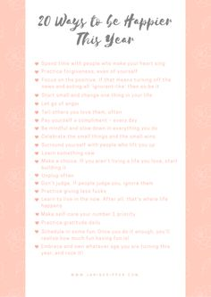 20 Ways to be Happier free printable