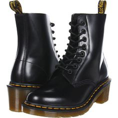 Dr. Martens Clemency 8-Tie Boot (Black Smooth) Women's Lace-up Boots $130