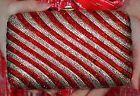 Judith Leiber SWAROVSKI CRYSTAL RUBY RED CANDY CANE STRIPES Clutch Shoulder Bag