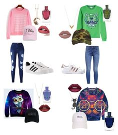 """""""#bestfriends cute and loud sweatshirts with skinny jeans"""" by drey-harper on Polyvore featuring Levi's, Kenzo, adidas, Steve Madden, Nasaseasons, EF Collection, Louis Vuitton, Amanda Rose Collection, Roberto Cavalli and Lime Crime"""