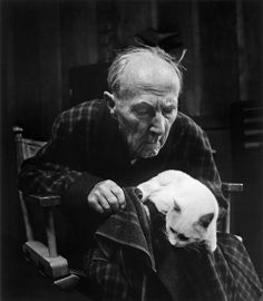 Wynn Bullock- Edward Weston with Cat,1955