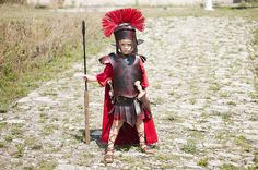 The Littlest Centurion - amazing homemade gladiator / centurion costume.