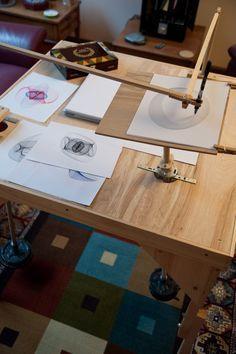 Three pendulum harmonograph drawing machine.