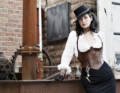 Under-bust corset. Western look with steampunk background.