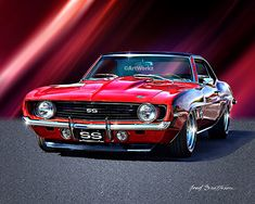 Muscle Car Print – 1969 Camaro SS – Hot Rod Art – Auto Poster – Giclee Print with Matte – by by etsy Chevrolet Bel Air, 1969 Chevy Camaro Ss, Chevrolet Camaro, Chevy Luv, Camaro Car, Dodge Charger, Ford Modelo T, Hot Rods, Volkswagen