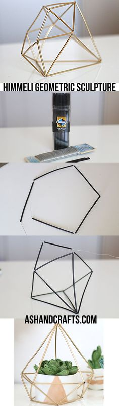 Learn how to create these chic himmeli geometric sculptures for a modern, sleek look. (link: http://ashandcrafts.com/himmeli-geometric-sculpture/ ) cool diy, minimal diy, coloblock diy, diy projects, diy ideas