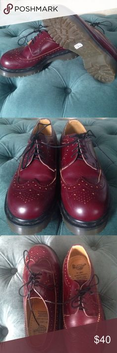 Leather oxblood doc marten Gibson wing tip UK 5 US 7 but they feel more like a 7.5. Nearly brand new, worn once. Small scuffs on front. Dr. Martens Shoes Combat & Moto Boots