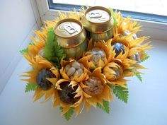 A bouquet even the manliest of men would appreciate. Beer Bouquet, Gift Bouquet, Candy Bouquet, Flower Box Gift, Flower Boxes, Candy Flowers, Paper Flowers, Fun Crafts For Kids, Diy And Crafts
