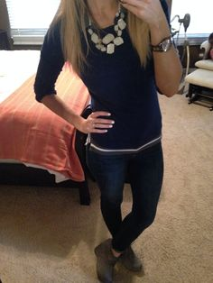 #express jean leggings #oldnavy sweater #charlotterusse gray ankle booties #target necklace