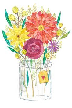 Flowers Illustration, Illustration Blume, Floral Illustrations, Watercolor Illustration, Flower Canvas, Flower Art, Watercolor Flowers, Watercolor Paintings, Canvas Art