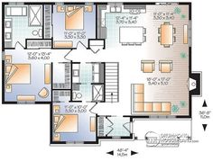 1st level Great Traditional bungalow home plan with 3 bedrooms & open floor plan and optionnal two-car detached garage - Bradley 3