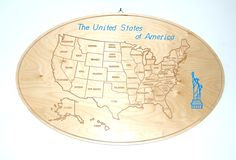 The painting depicts the USA map . The map is engraved on wood. The picture could be useful as wall decor for: representative offices, restaurant /shop, for person who loves US culture,... Material: birch plywood 10 mm thick Dimensions (length x width): 74.5 x 44 cm surface finish: absent engraving Finish: absent Weight: 4kg. On request it is possible to customize the product by varying the engraving theme, size, and colors. Folllow us on facebook