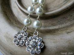 Swarovski Pearl And Rhinestone Flower Dangle by RainwaterStudios, $18.00