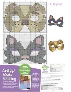 dog and cat masks / Фото - Cross Stitch Crazy 189 - WhiteAngel Cross Stitch For Kids, Cross Stitch Baby, Cross Stitch Animals, Cross Stitching, Cross Stitch Embroidery, Cross Stitch Patterns, Dog Mask, Little Stitch, Crazy Kids