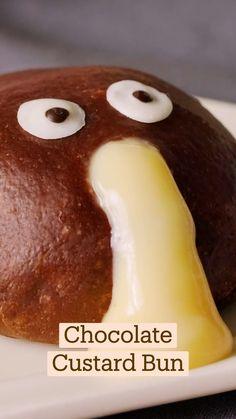 Fun Baking Recipes, Sweet Recipes, Dessert Recipes, Cooking Recipes, Dessert Chef, Custard Buns, Tastemade Recipes, Chocolate Custard, Hot Chocolate