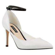 Add a touch of elegance with the Nine West Erra D& Pump. It has a slender, adjustable ankle strap that secures this leg-lengthening pointy-toe pump. Pointed toe Ankle strap with buckle fastening Synthetic lining. Black Leather Heels, Black Heels, Nine West Heels, White Pumps, Ankle Straps, Stiletto Heels, Gender Female, Size 10, Dupes