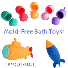 Keep mold far away from baby & tot with Marcus & Marcus' Mold Free Squirting Bath Toys.  We bring fun to the tub while kicking mold to the curb!  The detachable design allows for easy cleaning, just let air dry or throw in the dishwasher.