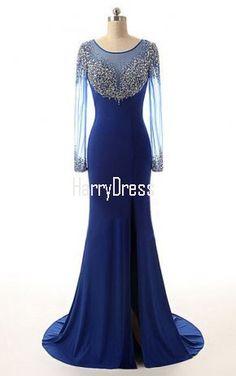 Trumpet Mermaid Scoop Neck Royal Blue Chiffon Tulle Sweep Train Beading  Long Sleeve Prom Dress